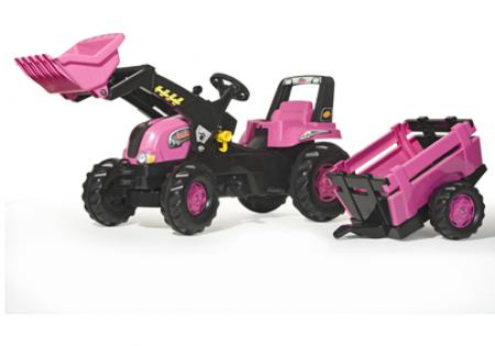 Junior Rolly Pink Tractor + Trailer + Loader